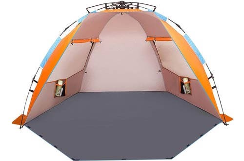 Oileus Portable X-Large 4 Person Beach Tent Sun Shelter