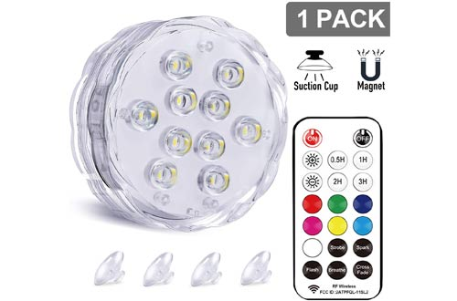 Qoolife Magnetic RGBW Colorful Waterproof Submersible LED Lights for Pool and Pond