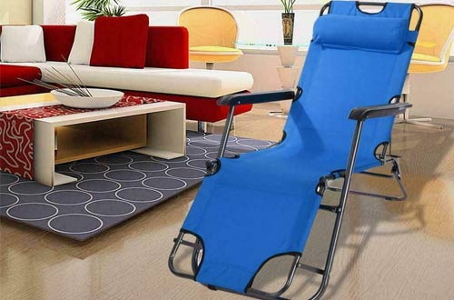 RICA-J Blue Folding Outdoor Patio Beach Lounge Chairs