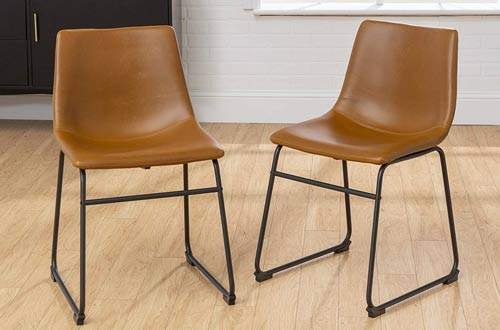 Faux Leather Dining Chairs with Metal Legs