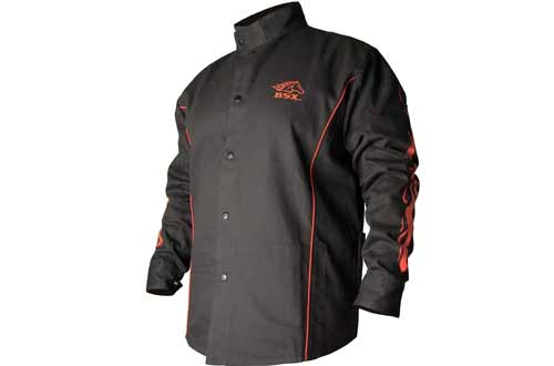 BSX BX9C Black With Red Flames Cotton Welding Jackets