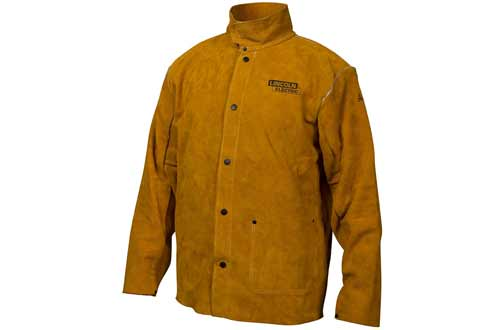 Lincoln Brown Large Flame-Resistant Leather Welding Jacket